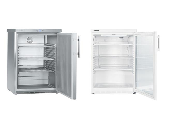 Unterbaufähige Getränkekühlschränke mit Volltür oder Glastür